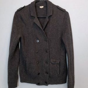J. Crew Wool Military-Style Button Grey Sweater